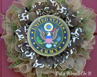 Army Burlap Mesh Wreath II Sale!! NOW 65.00 WAS 75.00