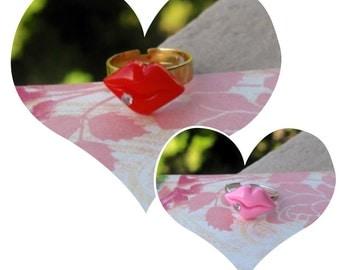 Valentine's Day Ring, Valentine Jewelry, Valentine's Day Jewelry, Kiss Ring, Pink Lips, Red Lips
