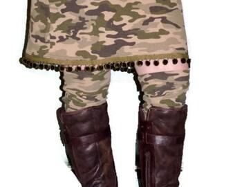 Camo Skirt and Leg Warmers, Upcycled Skirt, Repurposed Skirt, Camo Skirt, Funky Skirt, Ready to Ship