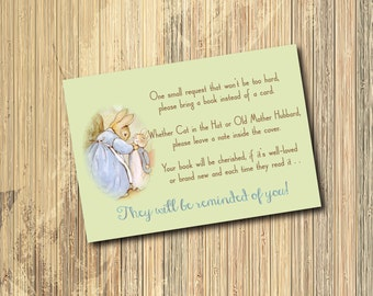 Peter Rabbit Book Request Insert /4X3/ DIGITAL FILE / printable / wording and size can be changed/beatrix potter, bunny, match invitation