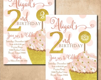 Girl Birthday Invitation cupcake printable/Digital File/pink and gold, monogram, 1st, 2nd, pink dots, simple/Wording and age can be changed