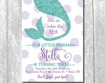 """Mermaid Birthday  Invitation..""""Under the Sea"""" / DIGITAL FILE / printable / wording can colors can be changed/party, glitter, purple, teal"""