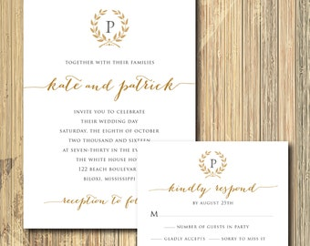 Beautiful Wedding Invitation and RSVP card with Laurel Wreath / DIGITAL FILES/ printable / wording can colors can be changed