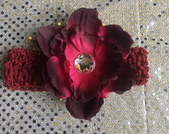 Peony Burgundy Flower clip on Crochet Headband Set Holiday Portrait Kids Toddler Bows Newborn Silk