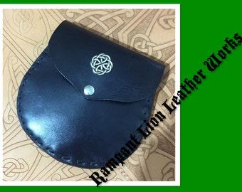 Black Leather Sporran with Celtic Decoration