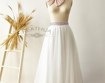 Ivory Beaded Maxi Long Women Tulle Skirt/TUTU Tulle Skirt/Wedding Bridal Bridesmaid Skirt/Wedding Dress Underskirt Petticoat