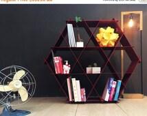 Large geometric shelf, DIY furniture, Metal shelves, Hexagon bookcase, Honeycomb bookcase, geometric decor, Home bar, Shoe storage