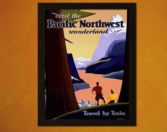 Pacific Northwest Travel Print - Vintage Travel Poster Pacific Northwest Poster Wall Decor Travel Home Decor  t