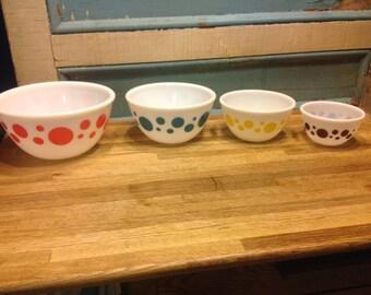 Vintage hazel atlas polka dots milk glass bowls