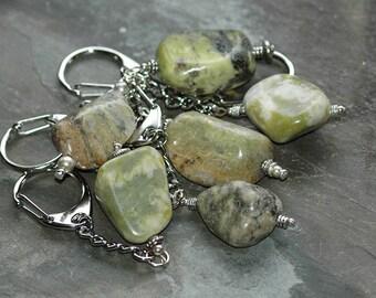 Irish Connemara Marble stone Keyring / Keychain-  Beautiful varying colour greens - special gift from Ireland