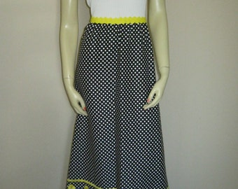 Maxi Dress  Yellow and Black with Polka Dots Empire Waist Probably 70s
