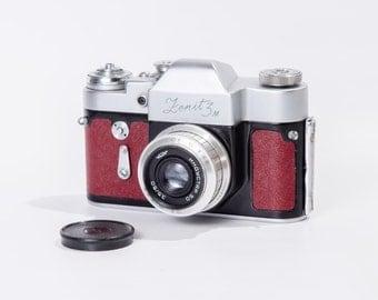 Zenit 3M Refurbished Camera M39 USSR Red Bordo SLR Industar 50 Lens Fully Working