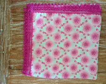 Pink Cherry Blossom Print Pram Throw/Baby Wrap with Hot Pink Lace Trim