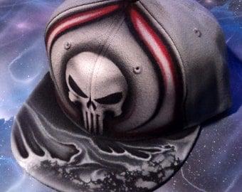 Airbrushed Punisher Skull Snapback Hat Hand Painted airbrush