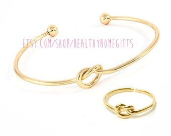 Gold Knot Bracelet - Tie the Knot Bangle - Maid of Honor Proposal Gift - Will You Be my Bridesmaid - Wedding Present