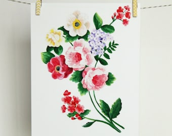 Vintage Painted Floral Bouquet | Flower Print | 8x10 | Two Pockets Art and Design