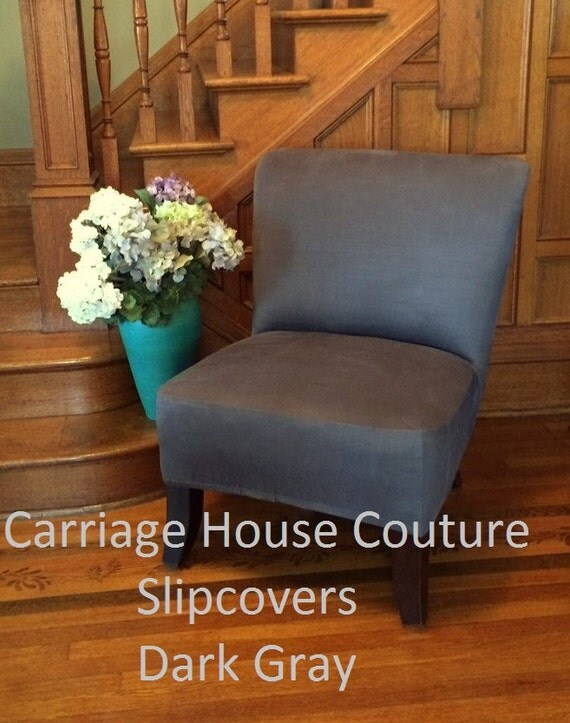 Slipcover Dark Gray Suede Stretch Chair Cover For Armless