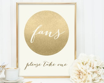 Fans Sign / Please Take One / Gold Sparkle Wedding Sign DIY / Metallic Gold and Cream / Champagne Gold ▷ Instant Download JPEG