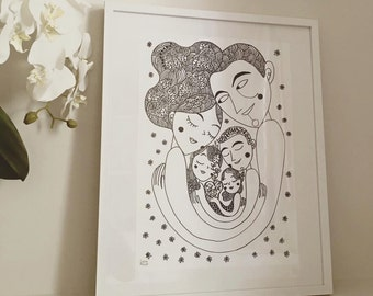 "The ""Big Hug"" Family Portrait. Custom portrait and illustration by Burabacio"