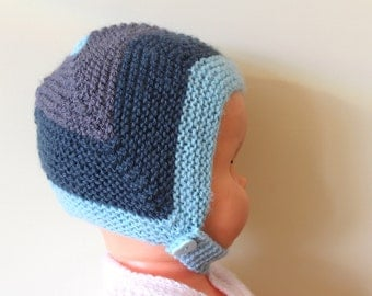 Chinstrap Hat, Baby Earflap Hat, Blue Baby Hat Cute Baby Hat, Hand Knit Hat, Acrylic Baby Hat, Winter Baby Hat, New Baby Hat, Trapper Hat