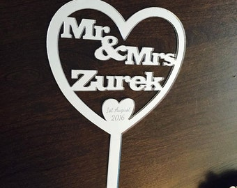 Personalised mirrored acrylic wedding cake topper
