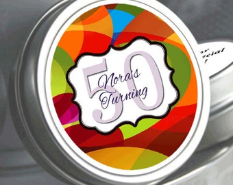 12 Look for who's turning... 12 Birthday Mint Tins - Retro Mints - Birthday Mints - Birthday Favors - Birthday Decor