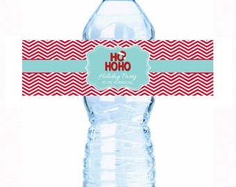 """Personalized HO HO HO Christmas Bottle Labels - Select the quantity you need below in the """"Pricing & Quantity"""" option tab"""