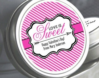 """12 Love is Sweet Personalized Valentine's Mint Tins - Select the quantity you need below in the """"Pricing & Quantity"""" option tab"""