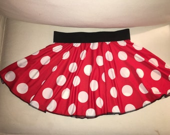 Mouse inspired Running Skirt Red/White polka dot READY TO SHIP