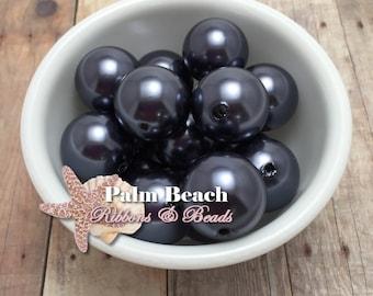 Eight (8) pcs Chunky 23mm Bubblegum Acrylic Pearl Beads Dark Gray Graphite Gunmental -8 pcs