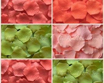 Coral Greens Rose Petal Blend - 1,500 Silk Rose Petals