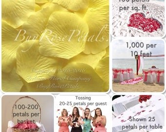 500 Light Yellow Rose Petals - Silk Rose Petals for Weddings