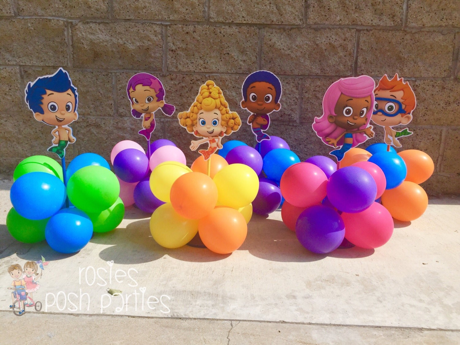 Bubble guppies centerpiece wood handcrafted by rosiesposhparties - Bubble guppies center pieces ...