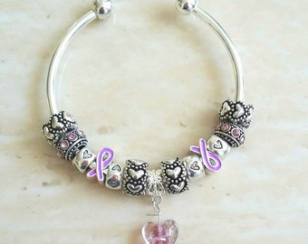 Purple Ribbon Glass Heart Rhinestone Antique Charms Silver Plated Bangle 7.5 Inches