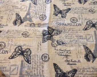 Burlap Tablecloth, FRENCH Country Chic Eiffel Tower Paris Script Jute TABLE Cover Topper 49x70