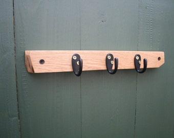 Wooden Key Holder / Wood Wall Hook / Coat Hook / Oak Wall Hanger / Reclaimed Wood / Trio Hook / Three Hanger / Decorative / Handmade