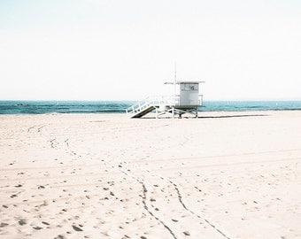 Santa Monica Beach Print, Los Angeles Beach Photography, Beige Decor, California Beach, Lifeguard Tower, Sand, Teal Water, Large Wall Art