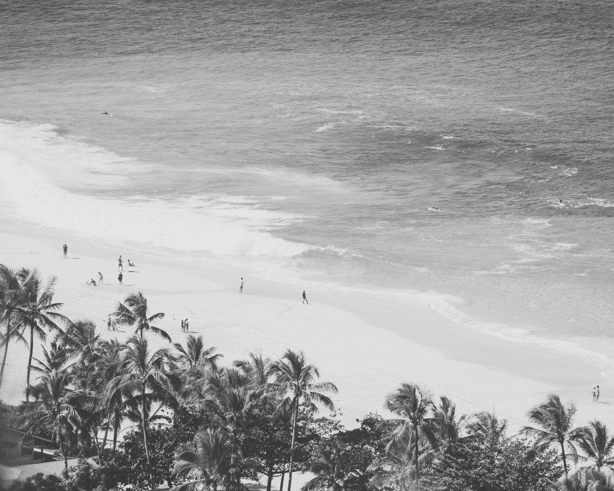 Vintage surf photography hawaii print black and white beach photo
