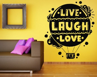 Wall Sticker Decals Room Design Decor Art Pattern Live Laugh Love Phrase Balloon mi762