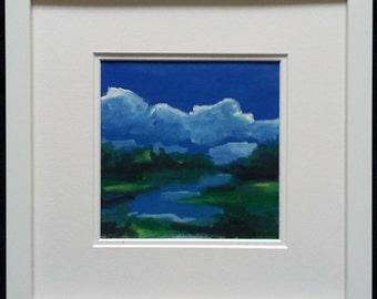 """Original Gouache Landscape Painting, Watercolour Landscape Painting 12""""x12"""" Framed, Original Watercolor Landscape Painting by Simon Bramble"""