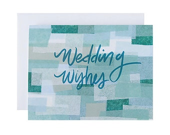 "Letterpress Wedding Card, ""Wedding Wishes"", Hand Lettering, Geometric, Modern"