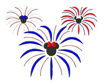 Character Miss Mouse Patriotic Firework Burst Embroidery Design