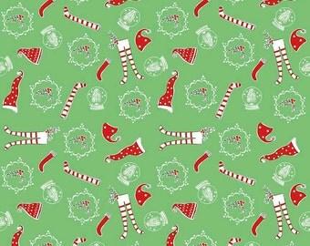 Pixie Noel by Riley Blake - Socks Green - Cotton Woven Fabric