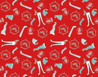 Pixie Noel by Riley Blake - Socks Red - Cotton Woven Fabric