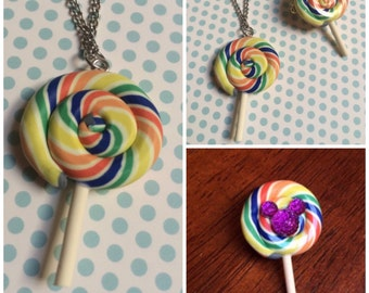Lollipop Necklace or Pin!
