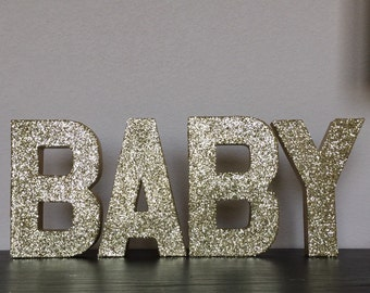 goldsilver glitter stand up paper mache baby sign glam baby shower photo prop decor gender reveal decorations customizable