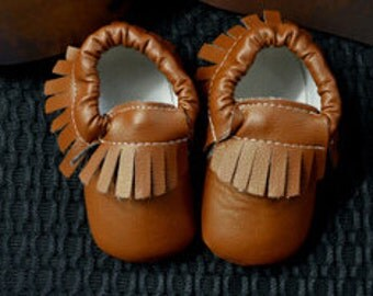 Brown leather moccasins