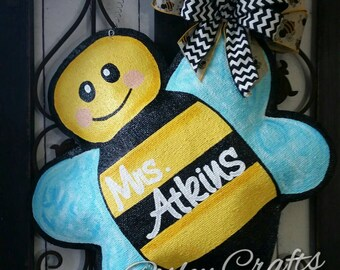 Bumble bee door hanger, hand painted burlap door decor