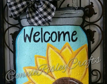 Sunflower on Mason Jar Burlap Door Hanger Decoration and Wreath Replacement