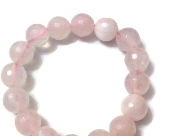 Faceted rose quartz bracelet